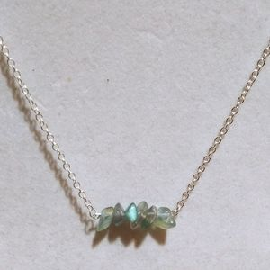New! 925 Sterling Rainbow Flourite Bar necklaces